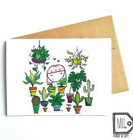 Made in Happy Carte de souhait - Dame aux plantes