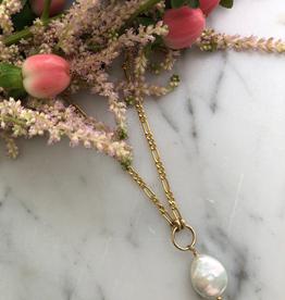 """Flora Ciccarelli Collier 16"""" avec anneau central et perle en goutte (220-202)"""