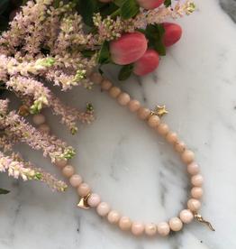 "Flora Ciccarelli Collier 16"" opale rose avec 5 breloques (220-209)"
