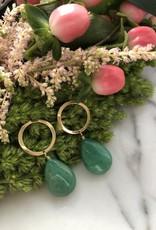 Flora Ciccarelli Boucles d'oreilles avec anneau et goutte en jade vert (220-104)