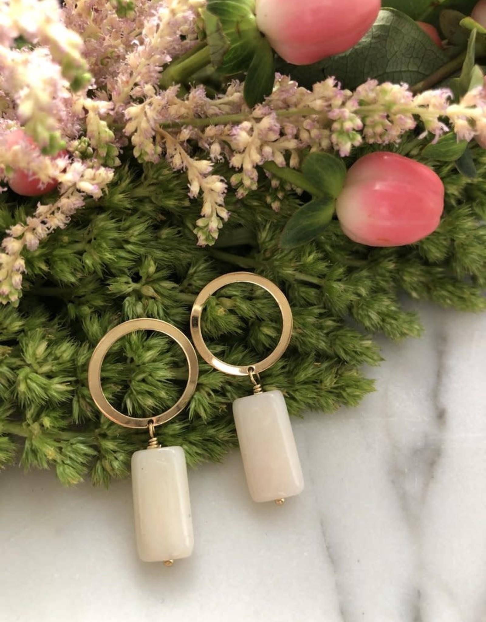 Flora Ciccarelli Boucles d'oreilles anneau (tige) et rectangle en opale rose (220-105)
