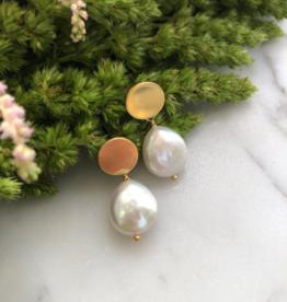 Flora Ciccarelli Boucles d'oreilles pastille ronde et perle en goutte (220-101)