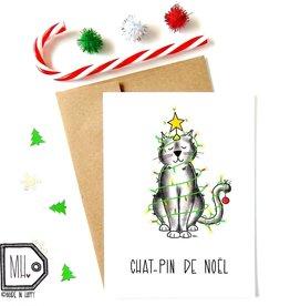 Made in Happy Carte de souhait - Chat-pin de noël