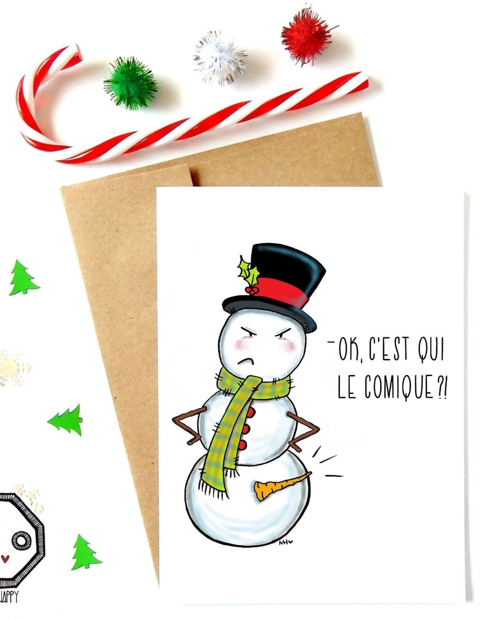 Made in Happy Carte de souhait - Bonhomme de neige fâché