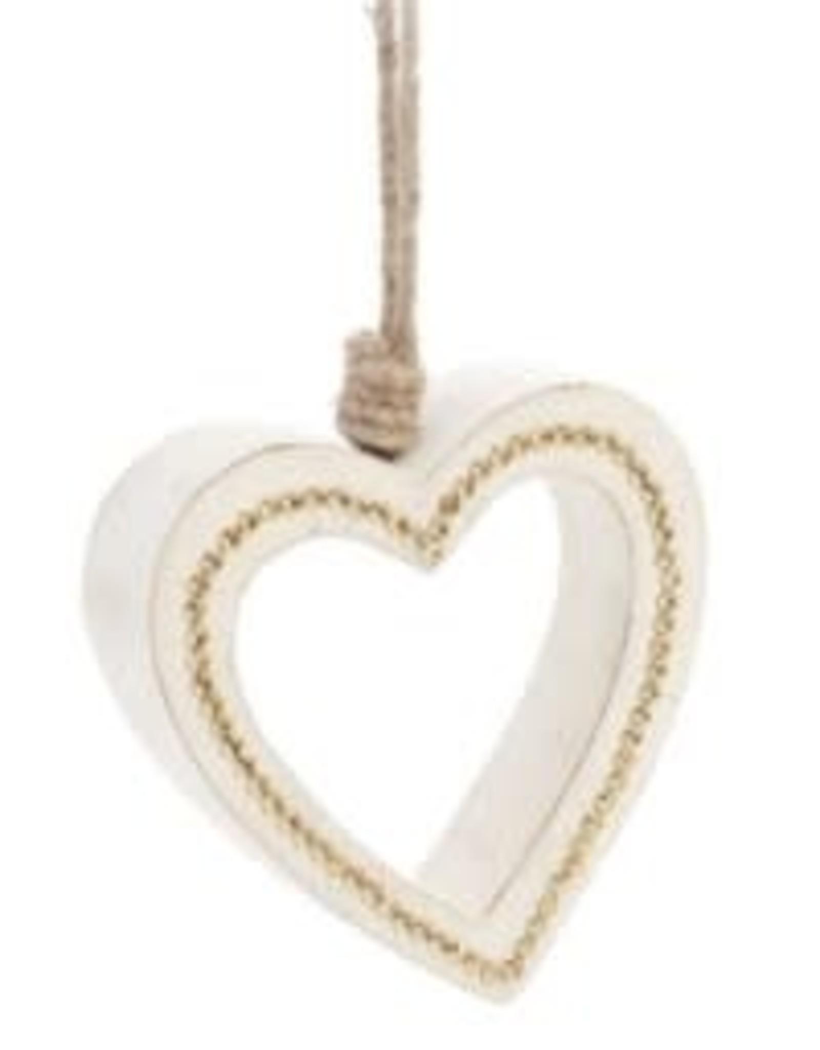 Ornement - Coeur en bois blanc & or