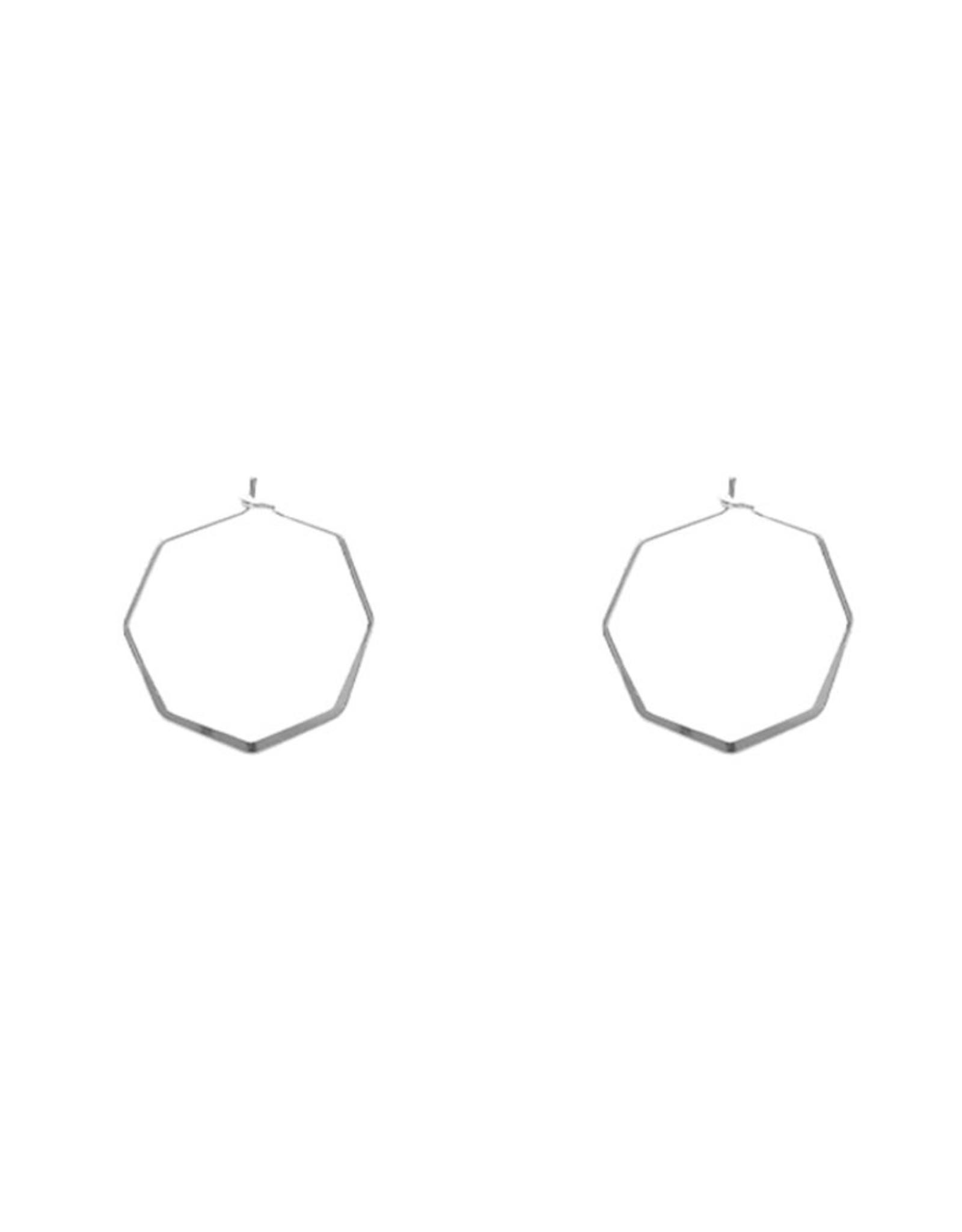 Lost & Faune Boucles d'oreilles - Anneaux hexagones - Argent