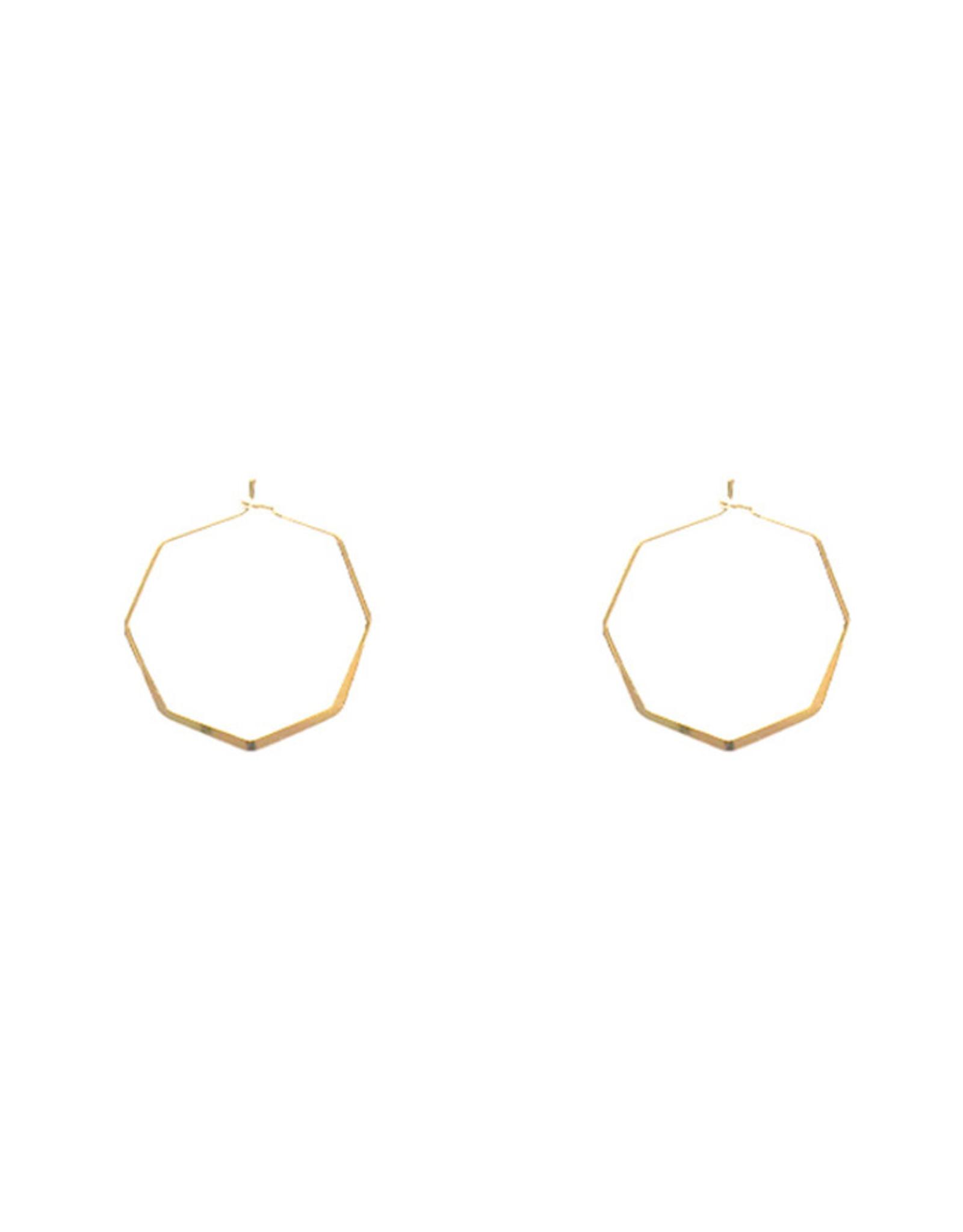 Lost & Faune Boucles d'oreilles - Anneaux hexagones - Or