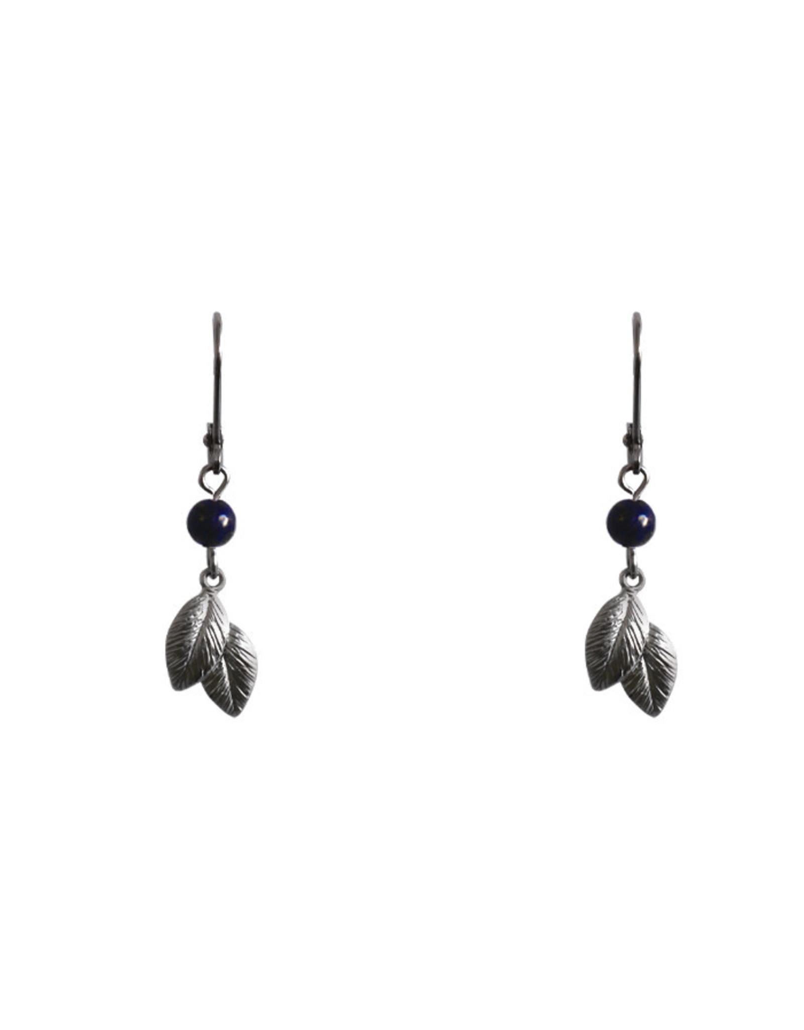 Lost & Faune Boucles d'oreilles - Tombée de feuilles argent - Lapis lazuli