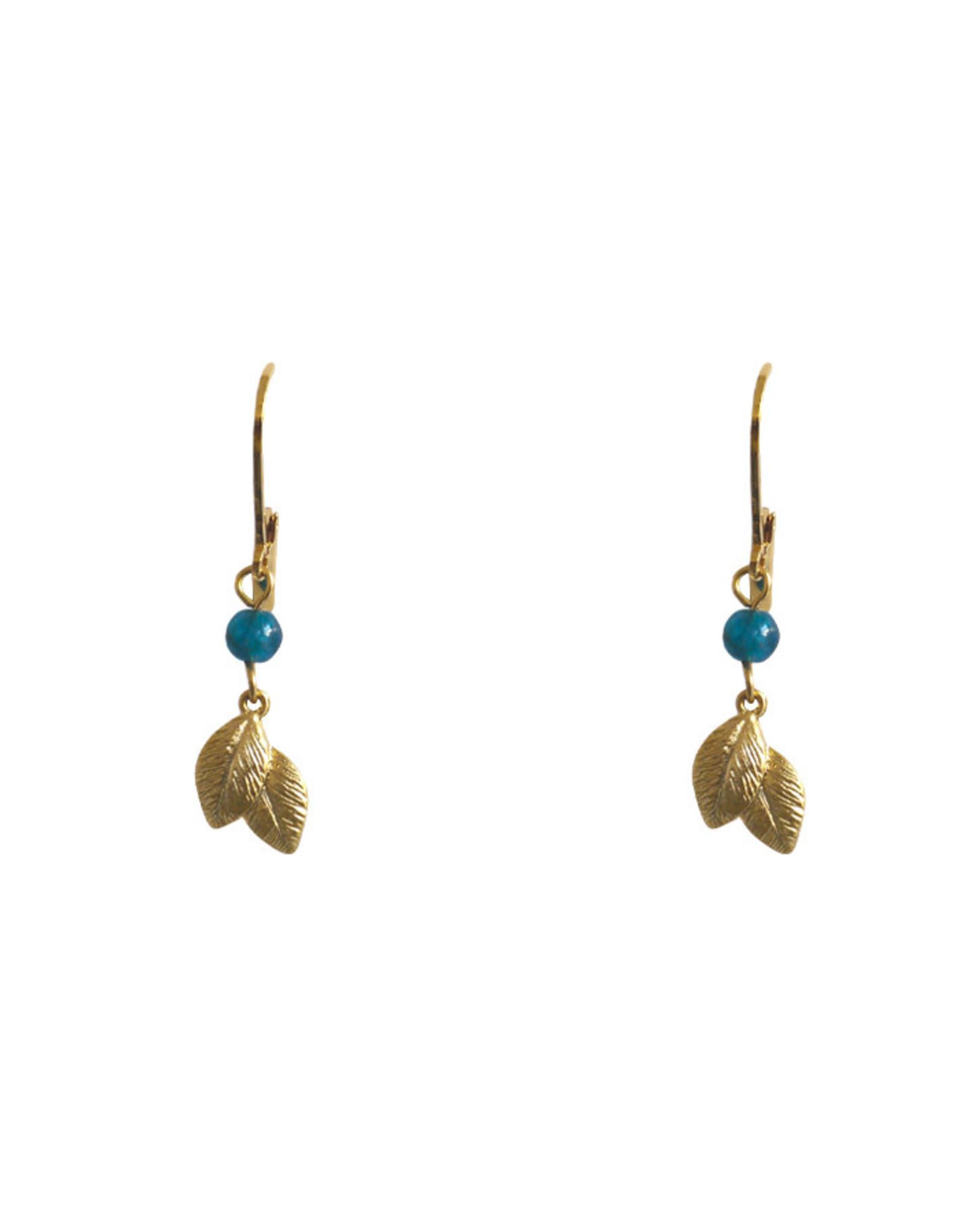 Lost & Faune Boucles d'oreilles - Tombée de feuilles or - Apatite verte