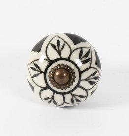 Poignée céramique - Sonia noir et blanc