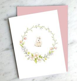 Carte de souhait - Couronne lapine