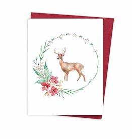Carte de Noël  - Couronne & cerf