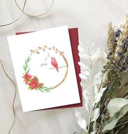 Carte de Noël  - Couronne oiseau