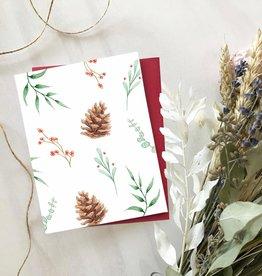 Carte de Noël  - Motif verdure