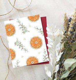 Carte de Noël  - Motif oranges