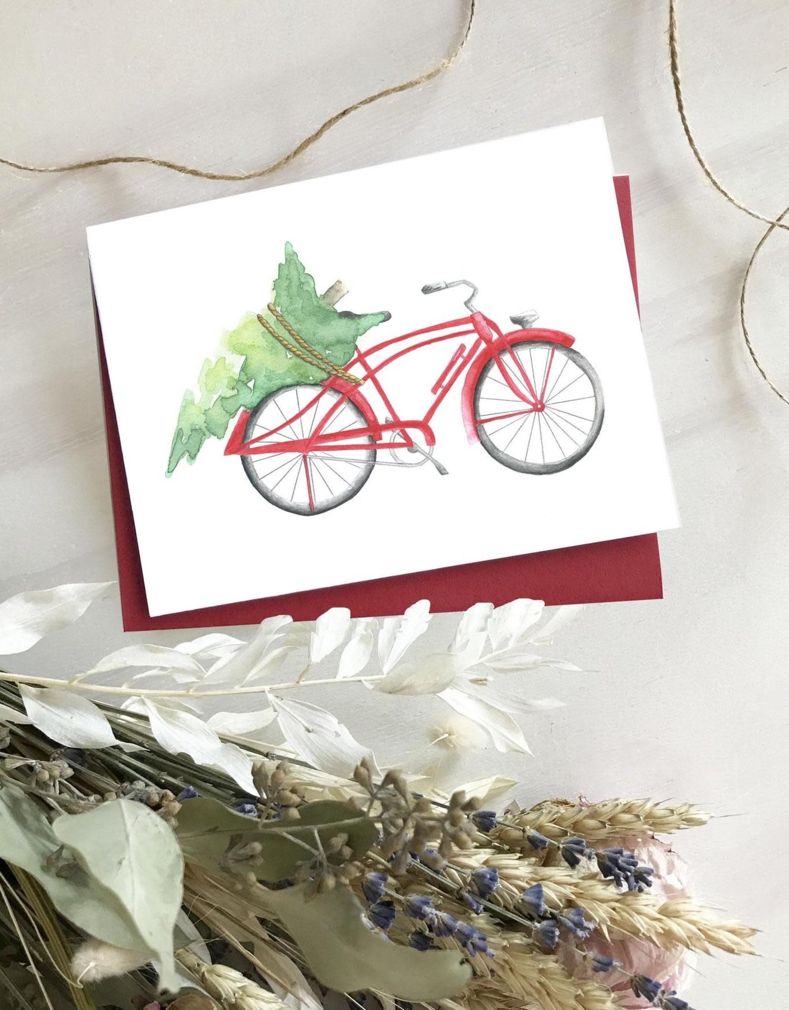 Carte de Noël  - Bicyclette