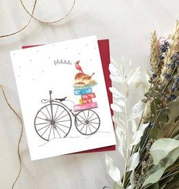 Carte de Noël  - Bicyclette vintage