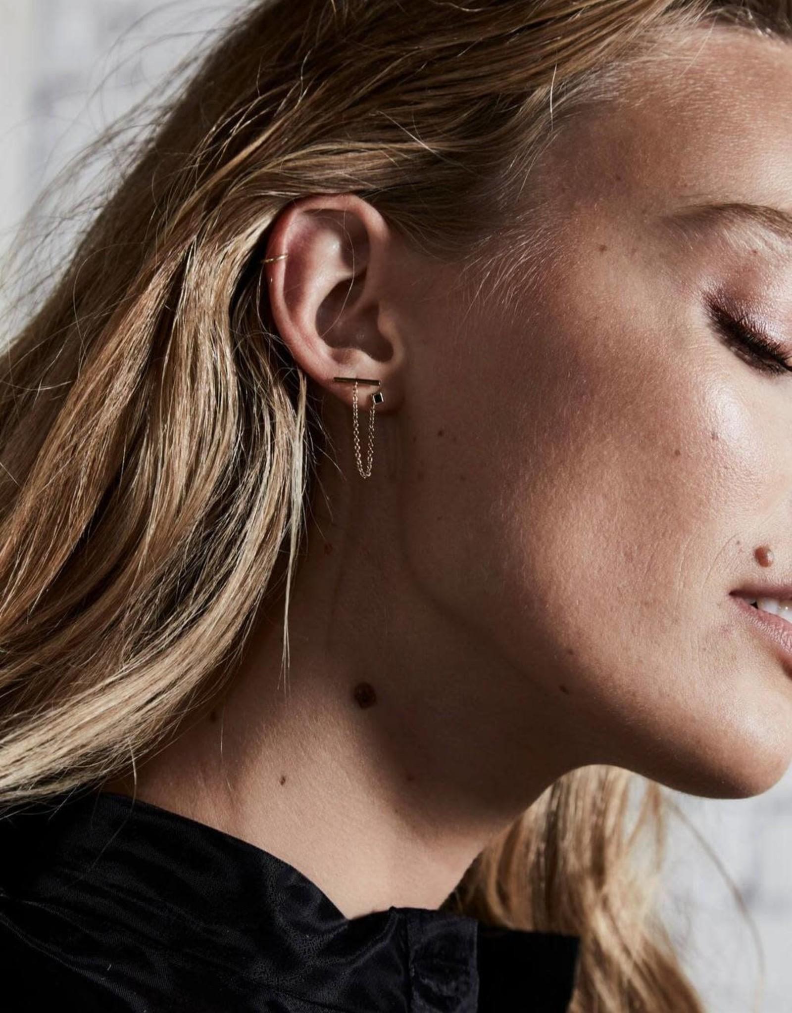 Rosefield Bloucle d'oreilles - Iggy - Chaîne & pierre noire