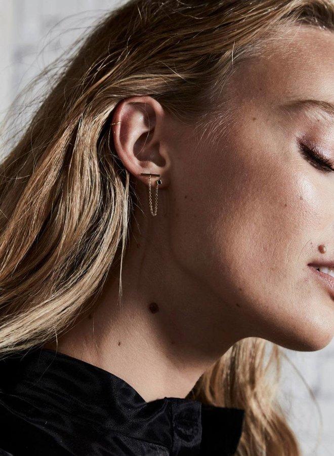 Bloucle d'oreilles - Iggy - Chaîne & pierre noire