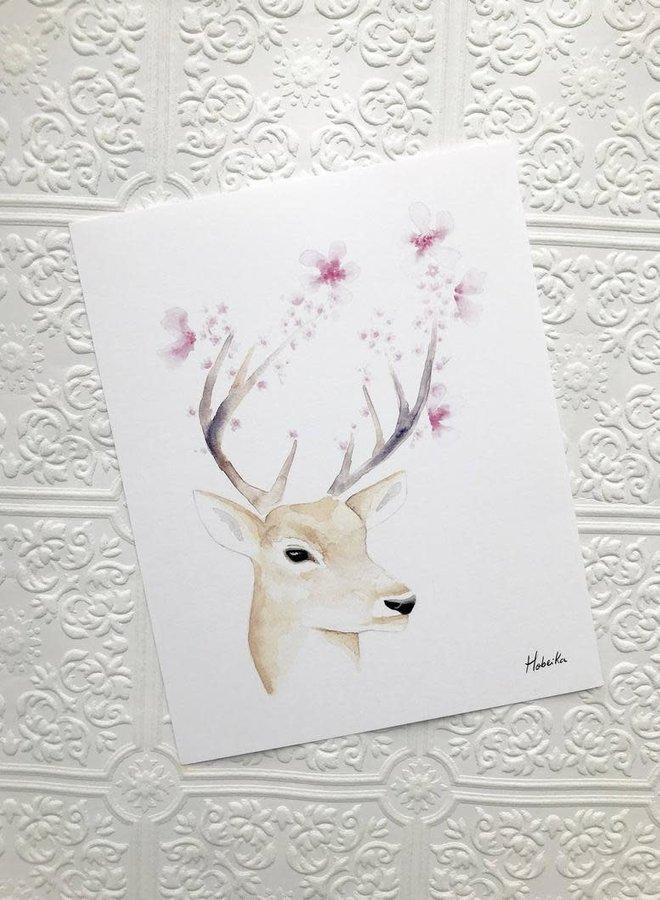 Affiche 8x10 - Cerf printemps floraison
