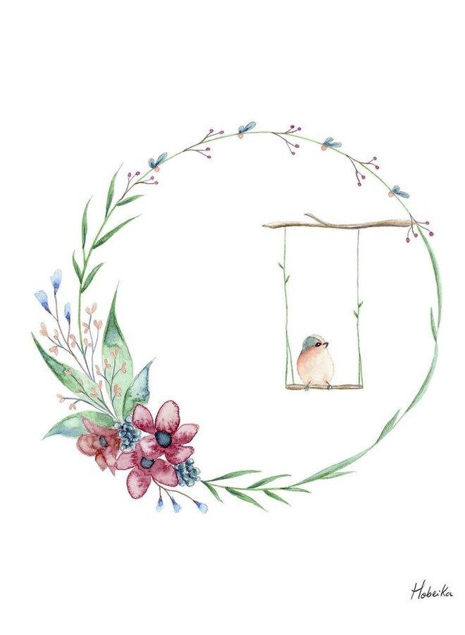Affiche 8x10 - Couronne d'oiseau