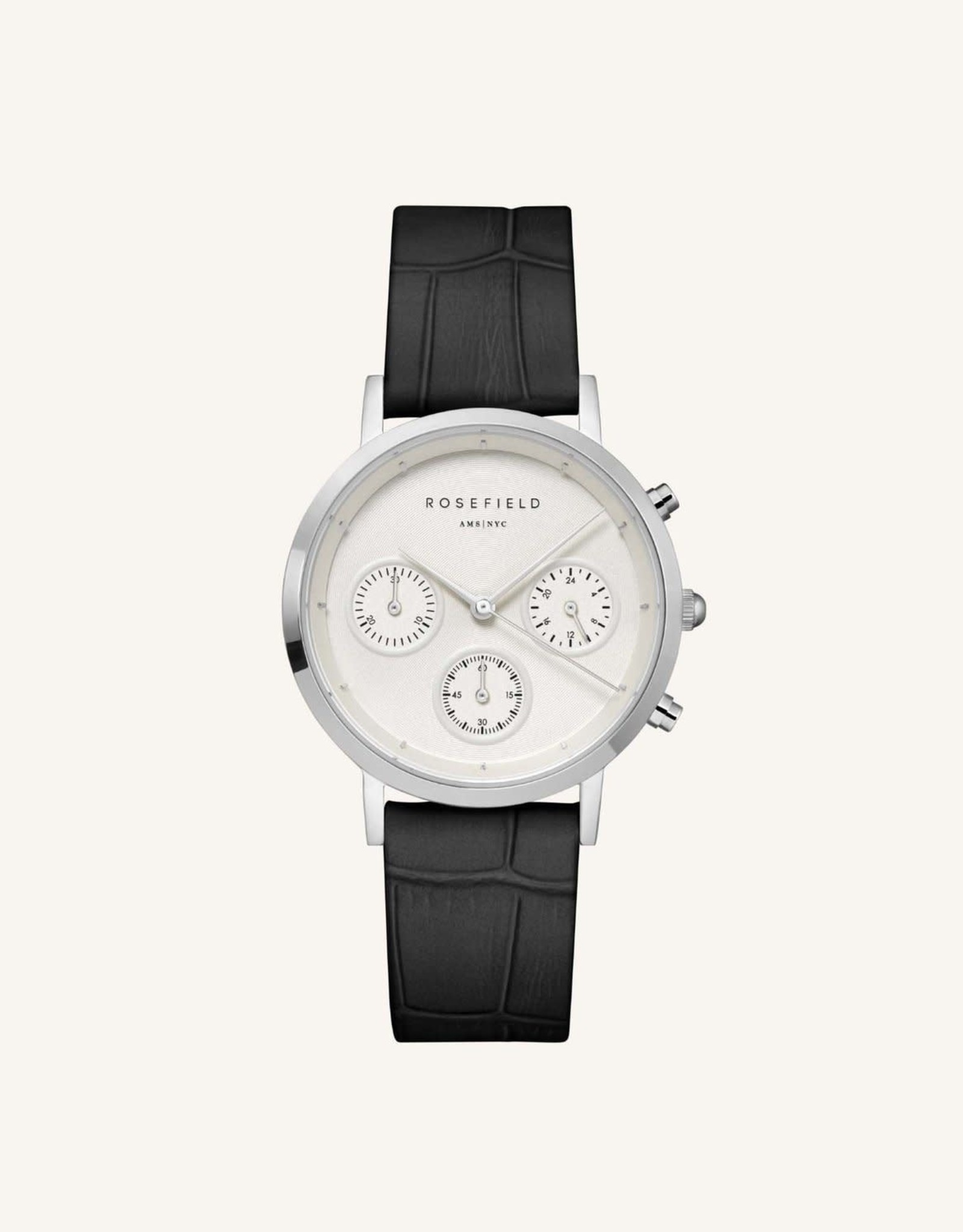 Rosefield Montre THE GABBY - Argent & noir croco