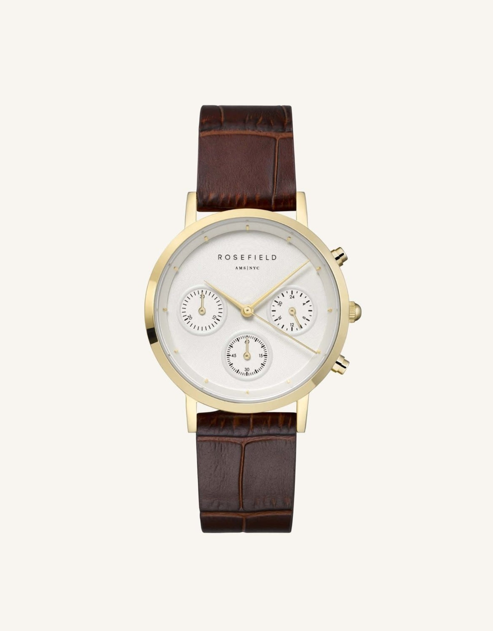Rosefield Montre THE GABBY - Or & marron croco