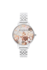 Olivia burton Montre - Marble Florals - Argent & or rose