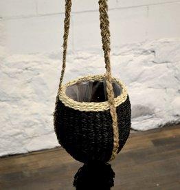Pot suspendu - Pompon noir