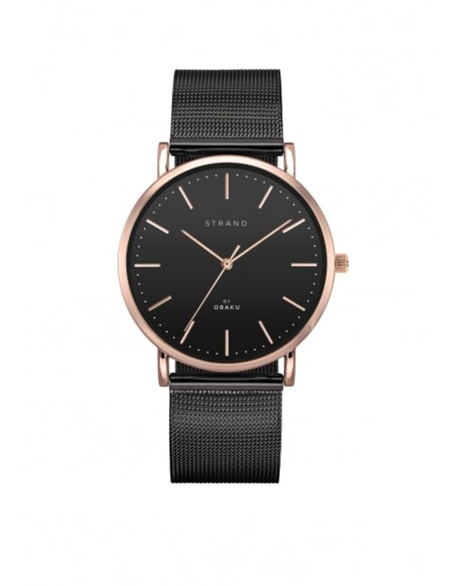 Strand by Obaku Montre Hudson - Noir & or rose