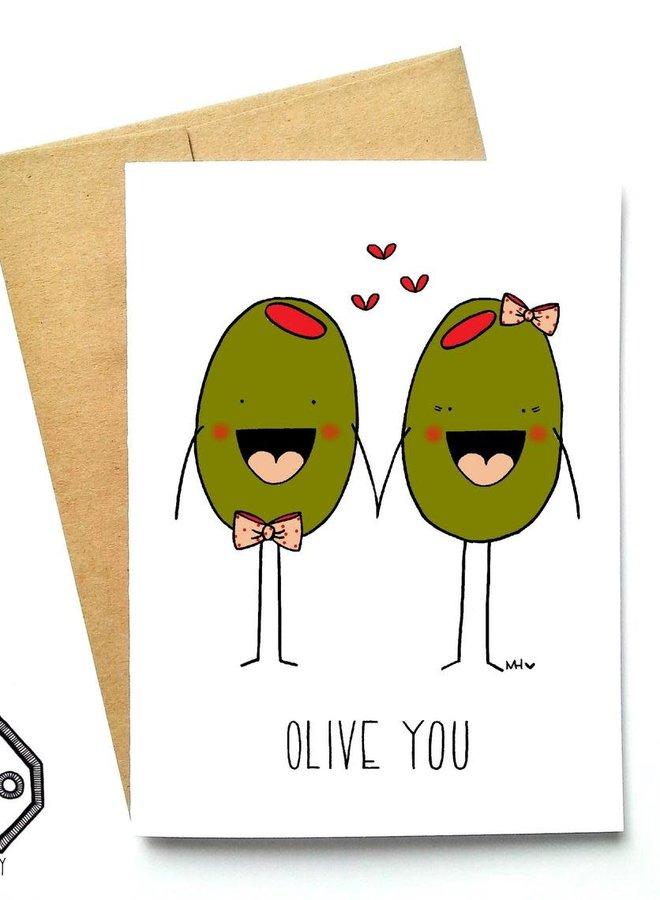 Carte de souhaits - Olive you