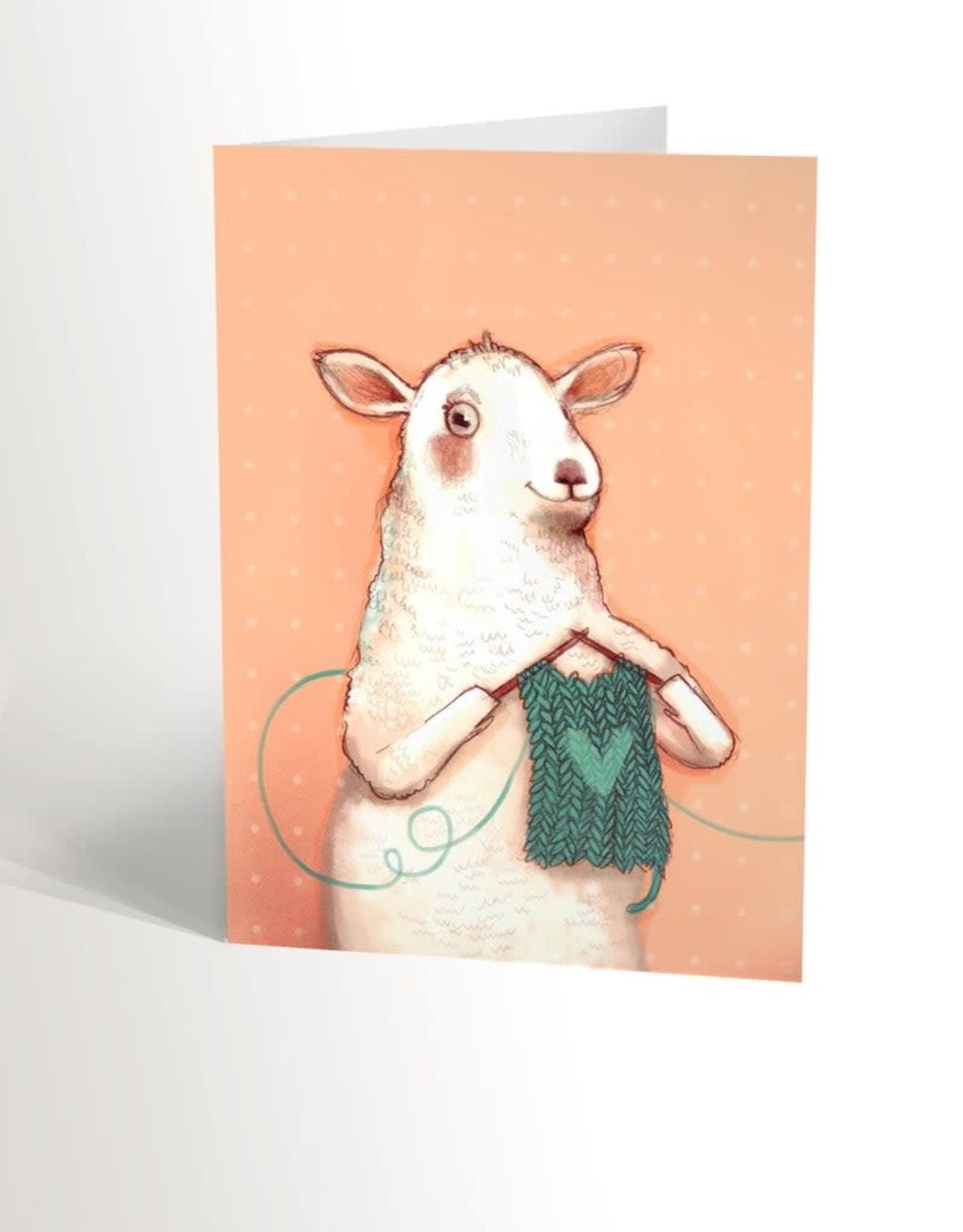 Valérie Boivin Illustration Carte de souhaits - Mouton tricot
