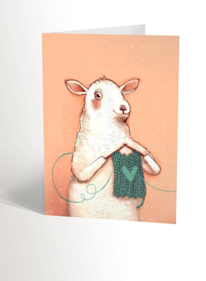 Carte de souhaits - Mouton tricot