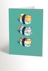 Valérie Boivin Illustration Carte de souhait - Sushi chats