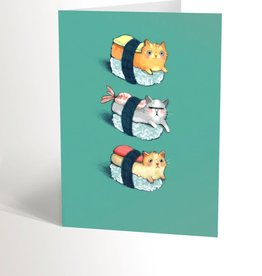 Valérie Boivin Illustration Carte de souhaits - Sushi chats