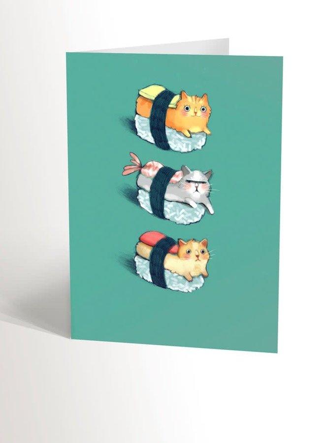 Carte de souhaits - Sushi chats