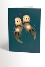 Valérie Boivin Illustration Carte de souhait - Loutres amoureuses