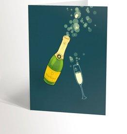 Valérie Boivin Illustration Carte de souhaits - Champagne