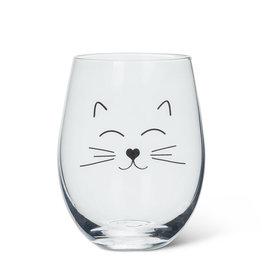 Verre à vin - Visage chat