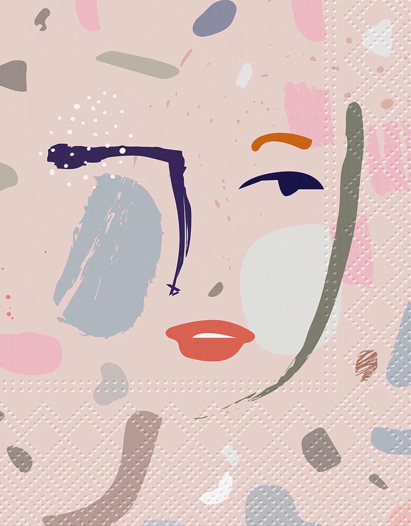 Serviettes de papier - Visage peint rose