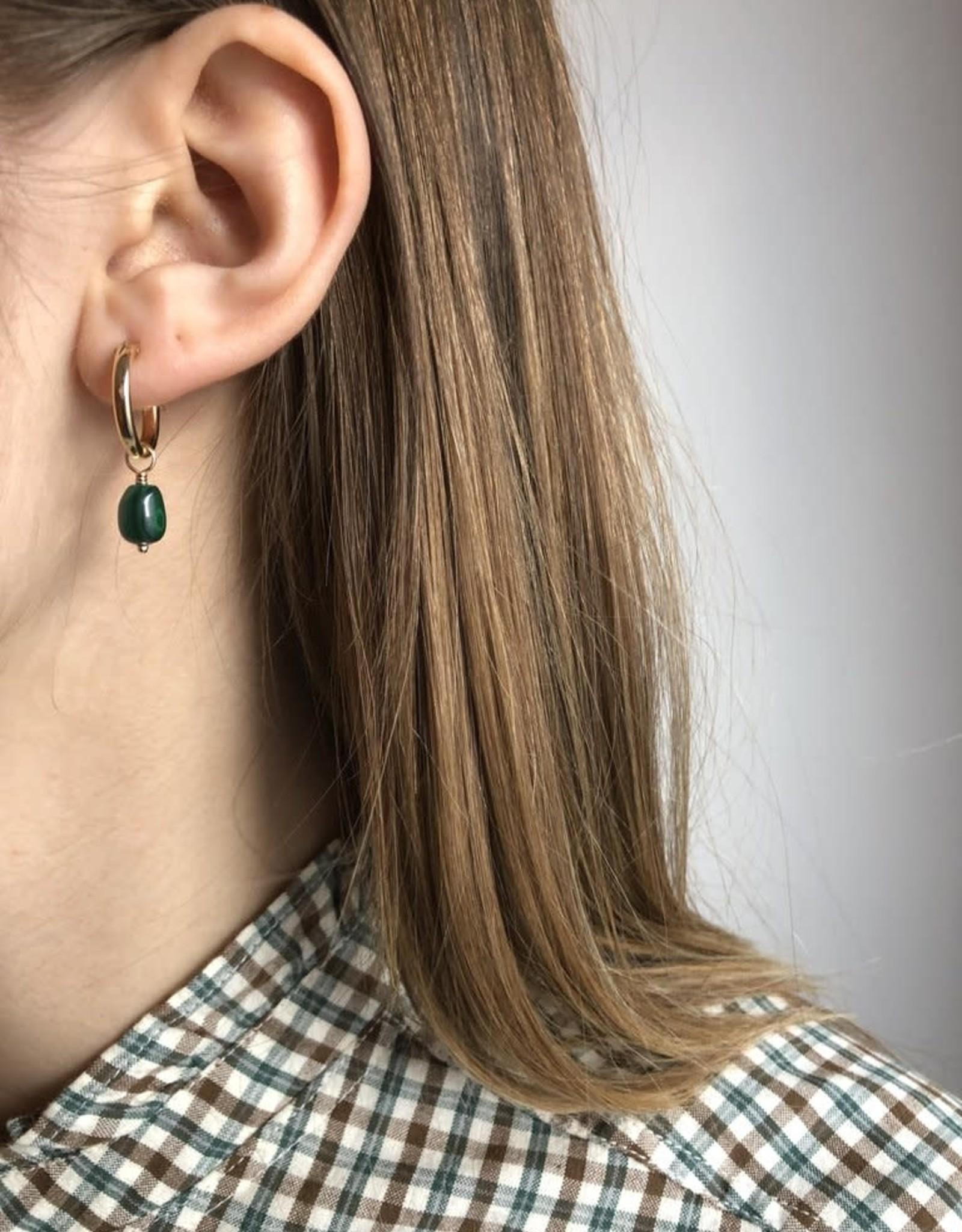 Flora Ciccarelli Anneaux 15mm - Malachite ovale