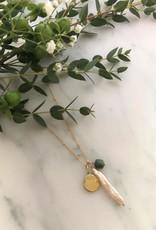 """Flora Ciccarelli Collier 18"""" - Perle d'eau douce,  turquoise et disque"""