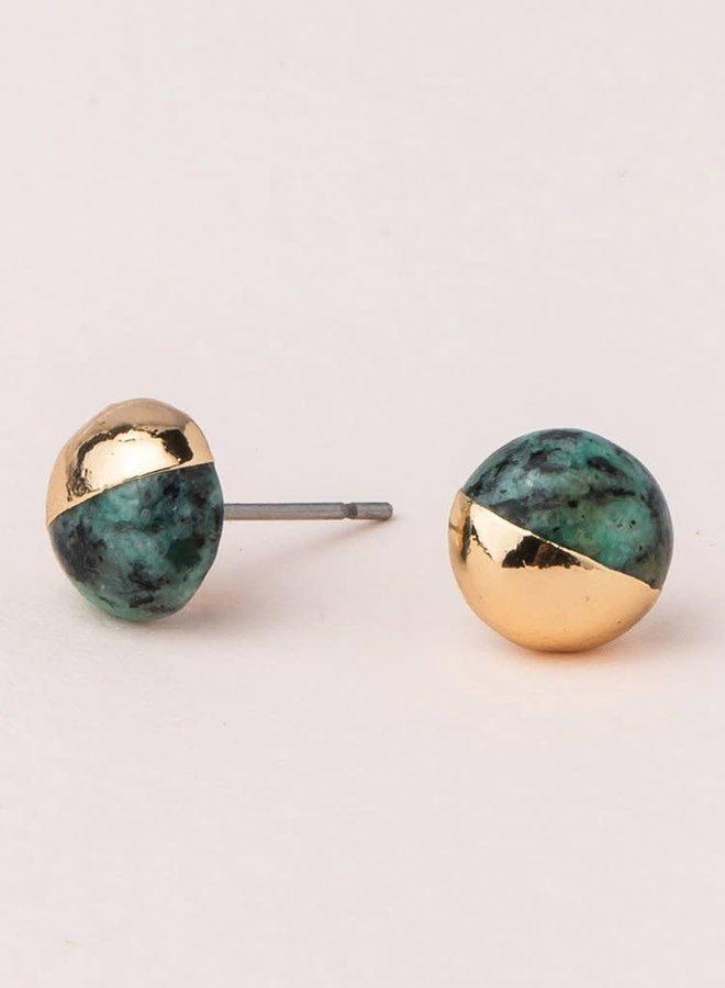 Boucles d'oreilles - Turquoise Africaine - Plaqué or