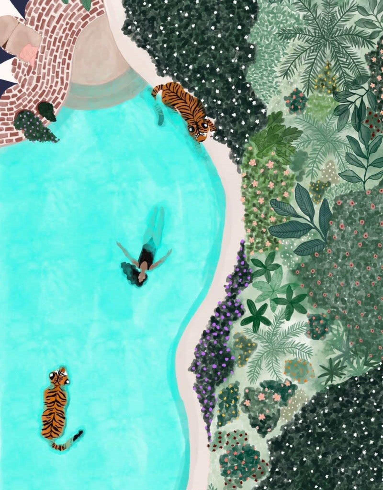 Mimi & August Illustration 8x10 - Nager avec les tigres