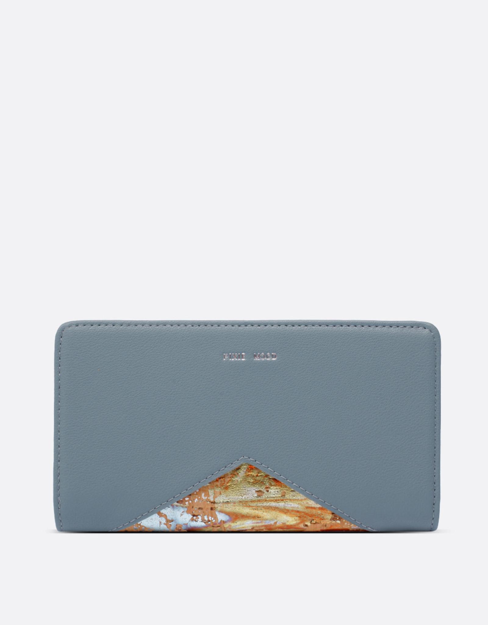 Pixie Mood Portefeuille Sophie - Bleu minéral et liège métallique