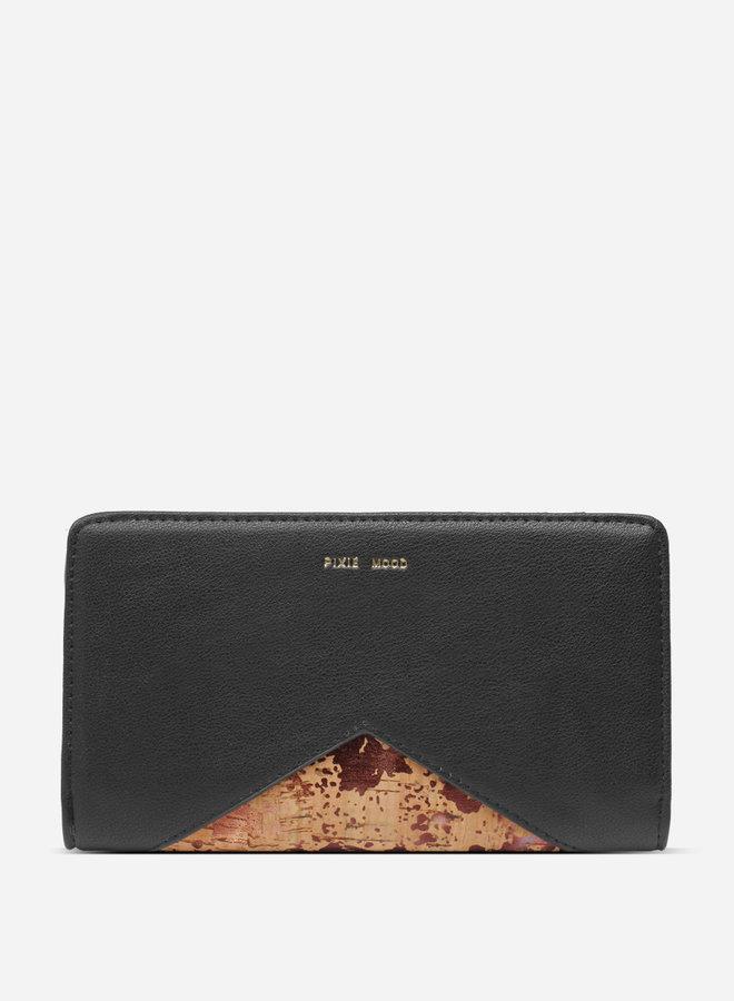 Portefeuille Sophie - Noir et liège métallique