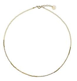 Collier 15'' - Perles de verre crème