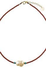 Collier 14'' -  Perles de verre rouge