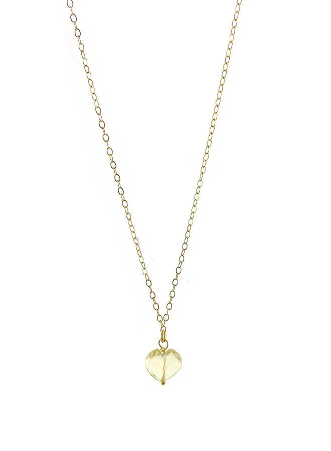 Collier 15.5'' -  Coeur en quartz jaune