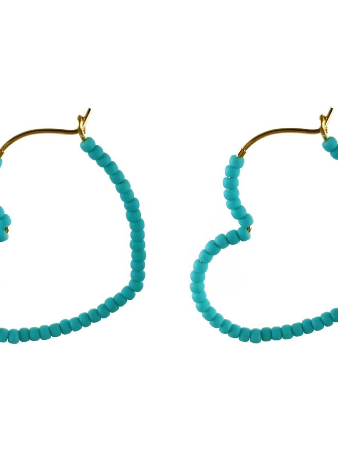Anneaux 30mm - Coeur turquoise
